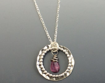 Sterling Silver Organic Circle with a Semi-Precious Handwrapped Briolette