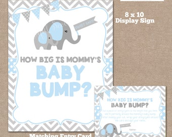 INSTANT DOWNLOAD, Elephant How Big is Mommy's Belly Game, Belly Guessing Game, How Big is Mommy's Belly, Elephant, Blue, #0007