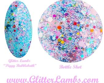 Piggy Bubble Bath Nail Polish Glitter Topper Nail Polish-Handmade Custom Glitter Topper Nail Lacquer By Glitter Lambs