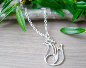 Sterling Silver Fox, Silver Fox Necklace, Simple Fox Necklace, Contemporary Animal, Foxy Jewelry, Fox Jewelry, Silver Fox, Fox Cutout