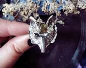 Wolf Ring, Labradorite Crystal, Wolf Totem, Fox, Wolf Head Ring, Witch Ring, Labradorite Wolf, Adjustable