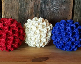 July Burlap Kissing Ball Centerpiece, 4th Of July Décor, Patriotic  Centerpiece, Red,