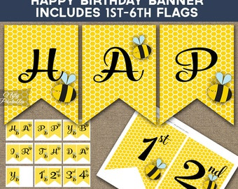Bee Birthday Banner - Printable Bumble Bee Happy Birthday Banner - Bumble Bee Party Decorations 1st 2nd 3rd 4th 5th 6th Birthday Decor BEE