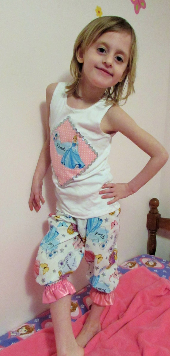 Princess pajamas/Disney outfit/Princess outfit/girls pajamas/Disney pajamas/Princess tank top/girls gift/gift for girl/birthday gift