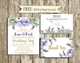 Lilac Wedding Invitation Set Printable Digital Floral Purple gold Wedding Invitation Lavender Wedding Stationery Watercolor flowers Romantic