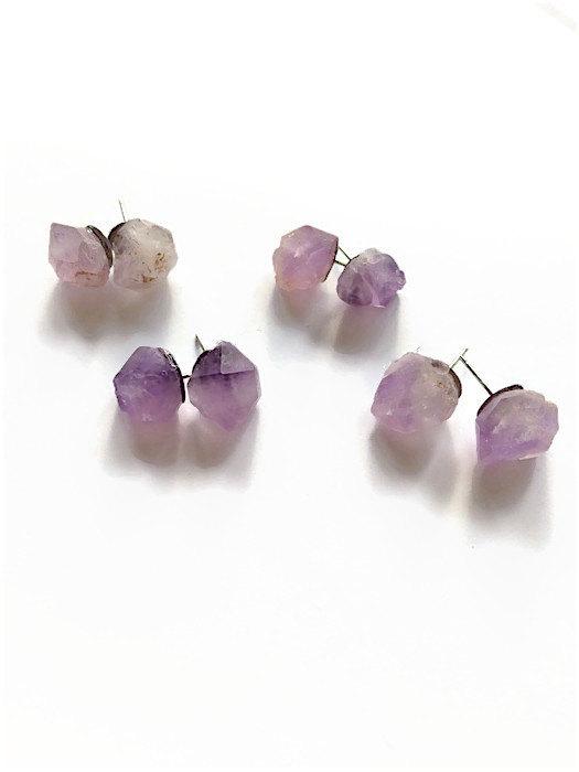 raw amethyst stud earrings amethyst gemstone earrings purple