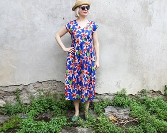 SALE - blue cotton dress - blue floral dress - blue loose fit dress - floral dress - blue dress - handmade dress