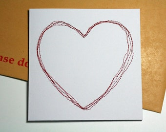 Valentine's Embroidered Heart Square Card
