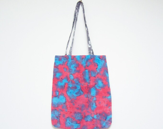 Linen tote bag abstract red, blue and grey dots eco-conscious hand painted