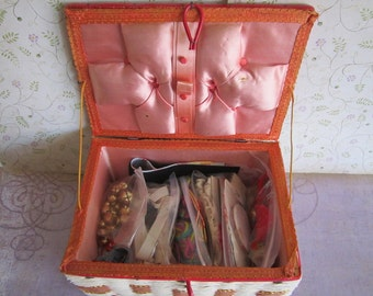 Vintage Woven Sewing Box With Sewing Notions and Supplies Made in Japan