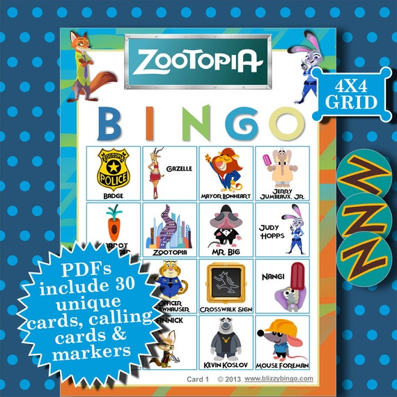 Zootopia 4x4 bingo printable pdfs contain everything you need for 4x4 bingo template