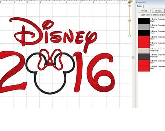 "Minnie Mouse ""2016"" Disney Trip with Applique Head Embroidery Digital Design Pattern - INSTANT DOWNLOAD ~ 5x7 and 6x10 Sizes"