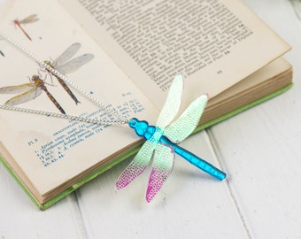 Laser Cut Blue Mirror Iridescent Dragonfly Necklace | Insect Jewellery | Entomology