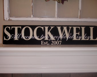 Family Name Sign with Established date, Custom Wood Sign - great for weddings, anniversaries, housewarming gifts