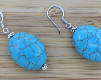 Sterling Silver Turquoise Earrings Flat Oval Blue Turquoise Howlite 20x15x7mm