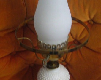 Vintage Hobnail, Milk Glass Lamp.