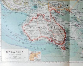1900 OCEANIA ANTIQUE LARGE World Map. Australia...115 years old chart!