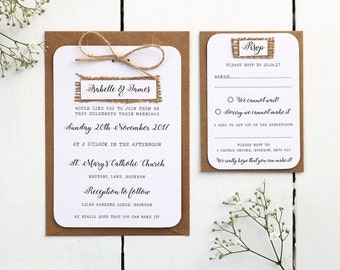 Rustic Burlap, Hessian and Twine Wedding Invitation Set