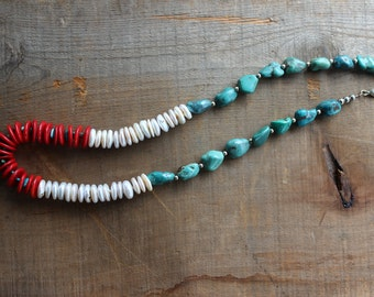 Turquoise Necklace // Coral & Pearl