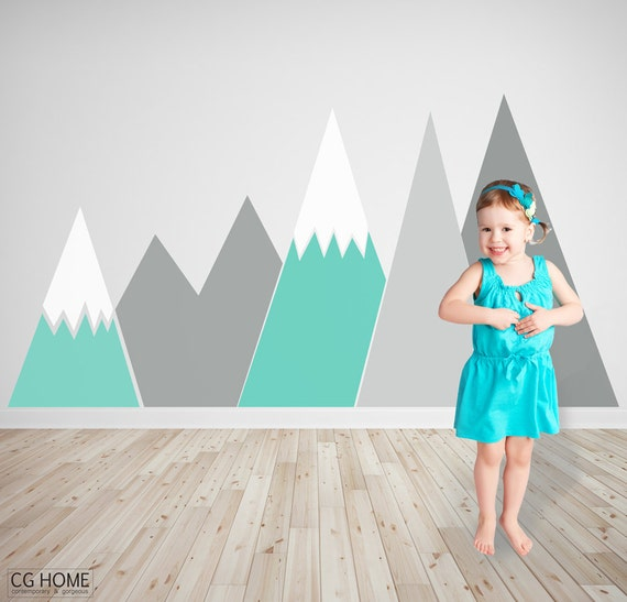 pastel headboard MOUNTAIN Wall Decal Snow mountains Customized washable self adhesive sticker scandinavian pattern Nursery Decor CGhome