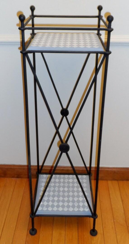 vintage black wrought iron 2 shelf 37 tall lamp by remarkableretro. Black Bedroom Furniture Sets. Home Design Ideas