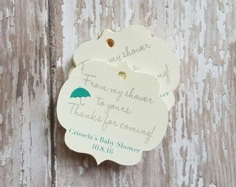 From My Shower to Yours Baby Shower Tag, Bridal shower tag, party favor tag, baby shower favor tag, Mini favor tag, mani thanks, mint (042)
