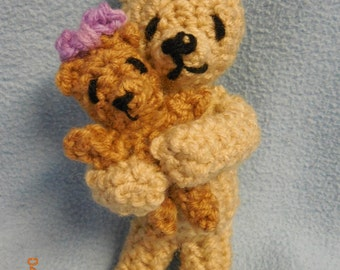 Crocheted Mother's Day Hugging Mommy and Baby Bears