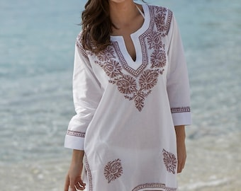 Embroidered beach cover-up, kaftan, Jade