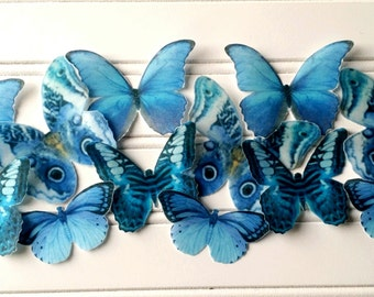 12 Edible Wafer Paper Butterflies Sapphire Blue-Cake Toppers