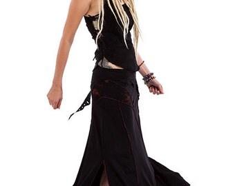 FESTIVAL GODDESS SKIRT, psy fairy skirt, flow skirt, psy trance clothing, pixie clothing, long boho mermaid skirt