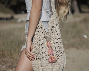 Ecru crochet bag, natural cotton summer tote, large crochet bag, boho purse, nude handmade summer bag, crochet crossbody bag
