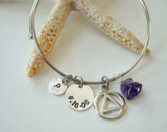 AA bracelet Recovery jewelry Alcoholics Anonymous Anniversary date AA Anniversary jewelry amethyst circle and triangle sobriety gift sponsor