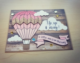 Baby Shower Greeting Card, Hot Air Balloon, Unique 3D Card, For Him or Her