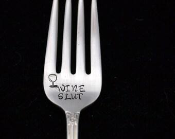 Stamped Fork Engraved  Personalized Silverware Wine Slut Gift for Wine Lover Hand Stamped Flatware Funny Forks Gifts Under 15 Dessert Fork