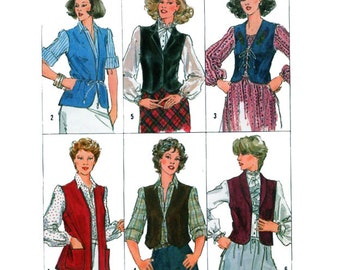 Simplicity 5294, Women, Vest, Sewing Pattern, V Neckline, Shawl Collar, Lace Closure, Button Front, Pockets, Size 10 Bust 32.5""