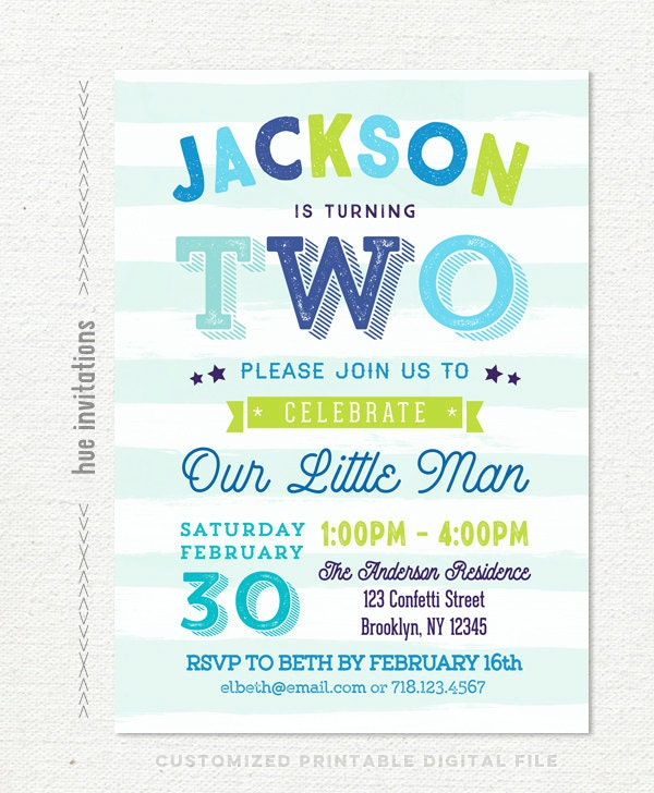 Boys birthday party invitation for 2nd birthday lime green and blue boys birthday party invitation for 2nd birthday lime green and blue aqua stripes our filmwisefo