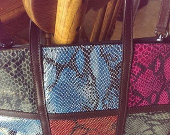 Vintage Accents by SHARIF multi color square block genuine leather snakeskin embossed Tote Bag New Without Tag