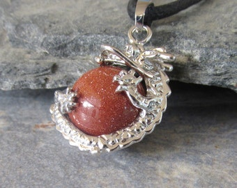Goldstone Dragon Pendant Necklace, Dragon Clutching Jewel, Choose Necklace Style, Goldstone Sphere, Dragon Lover Gift, Dragon Bezel
