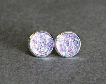 Lavender Stud Earrings, Light Purple Earrings, Purple Druzy Earrings, Purple Post Earring, Lavender Druzy Earrings, Purple Bridesmaid Studs