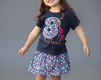 Girl Artist Birthday Shirt with Paintbrush Number and Name