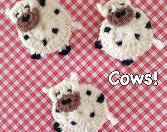 """Nylon Cow Pot Scrubbers- 2 Through 6 Cow Dish Scrubbers, Crocheted Scrubbies, Housewarming Approx 4 1/2 """" Dia.  Great on Teflon & All-Clad"""
