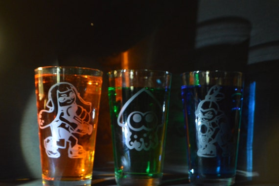 Splatoon Etched pub glass set of 3