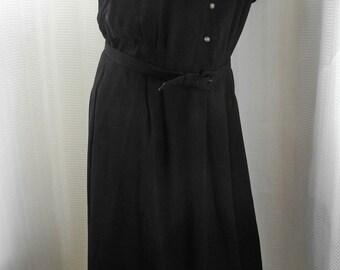 Vintage 1950s Black Sheer Nylon Mandarin Collar Lace Bodice Day/Night Dress