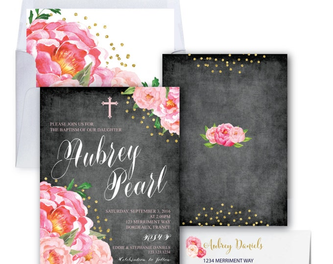 Baptism Invitation // Christening Invitation // Communion // Chalkboard // Peonies // Bridal // Pink // Gold Glitter // BORDEAUX COLLECTION