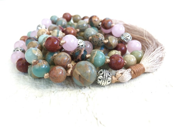 African Opal Mala Beads, Tassel Mala Necklace, Rose Quartz Mala Beads, Long Tassel Necklace, Yoga Meditation Beads