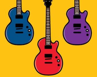 Guitar Clip Art - Digital File - Guitars Digital Clipart - Electric Guitar Clip Art - Instant Download - Guitar Vector Art Cute Guitars Art