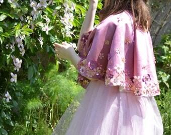 Fantasy Princess Hand Beaded Floral Shoulder Cape in Pink