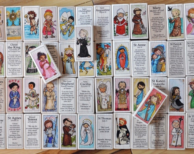72 Wood Saint Blocks Set - 72 Catholic Saints (St Peter, St Felicity, St Zelie, St Sophie, St Cecilia) // Catholic boy // Catholic girl