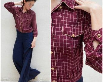 1980 Vintage Blouse/ Retro Crop Blouse/ Small Blouse/ Medium Blouse/ Japanese Vintage/ Maroon Red Blouse/ Crop Blouse/ Collar Blouse/ Retro