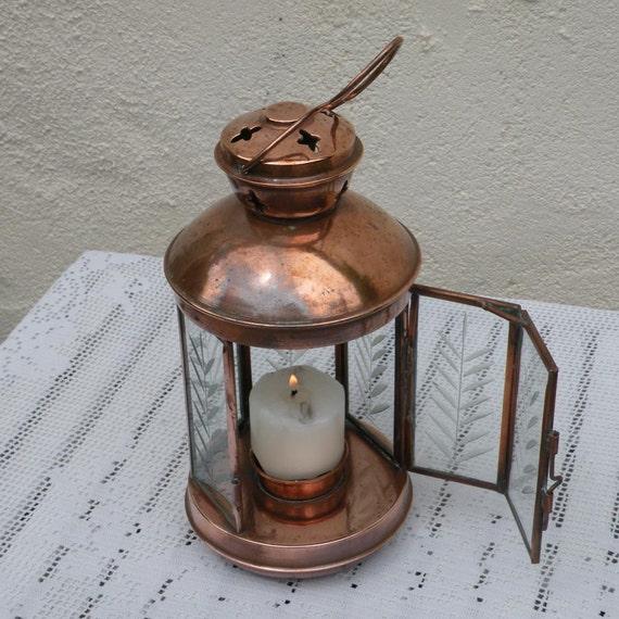 French vintage copper hanging lantern, candle lantern, vintage copper, French copper, copper and glass, etched glass lantern, mood light